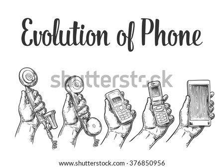 Evolution of communication devices from classic to modern mobile phone. Hand man. Engraving vintage vector black illustration. Isolated on white background. Hand drawn design element for label