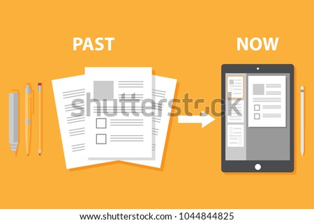 Evolution of devices from paper to smart gadget, innovation digital concept document pass to tablet screen display, future technology device, icon, symbol, object, pen, flat style cartoon vector