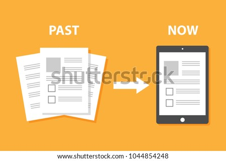 Evolution of devices from paper to smart gadget, innovation digital concept document pass to tablet screen display, future technology device, icon, symbol, object, paperless, flat style cartoon vector Stock photo ©