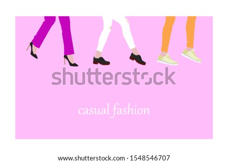 evolution of fashion in women's shoes, from high-heeled shoes to boots and comfortable sneakers, concept on a pink background. Women's feet go forward, flat style place for text. Stok fotoğraf ©