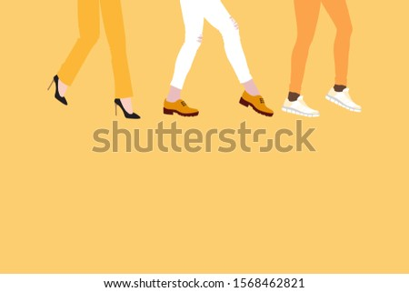 evolution of fashion in women's shoes, from high-heeled shoes to boots and comfortable sneakers, concept on yellow background. Women's feet go forward, flat style place for text. Stok fotoğraf ©