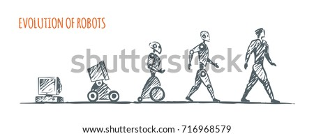 Evolution of robots. Vector hand drawn concept sketch.