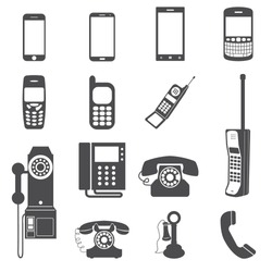 Evolution of telephone icon set.
