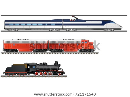 Evolution of trains. Steam locomotive, Twin-section diesel locomotives, high-speed train. Simple gradients only - no gradient mesh.