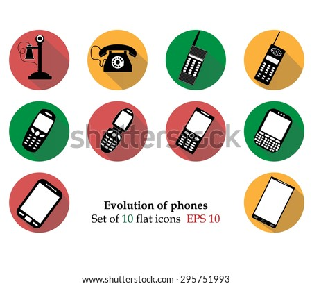 Evolution phones icosn isolated on background. Modern flat pictogram, business, marketing, internet concept. Trendy Simple vector symbol for web site design or button to mobile app. Logo illustration