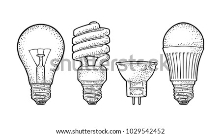 Evolution type electric lamp. Light incandescent bulb, halogen, cfl and led. Vector vintage black engraving illustration on white background. Hand drawn design element for label and poster