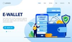 Ewallet landing page website illustration vector flat design