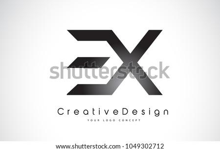 EX E X Letter Logo Design in Black Colors. Creative Modern Letters Vector Icon Logo Illustration. ストックフォト ©