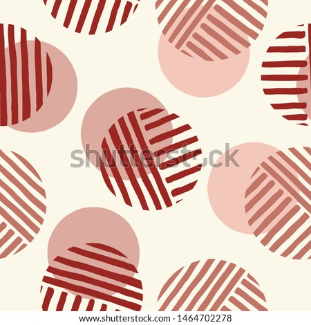 Exaggerated Retro Geo Dots Vector Seamless Pattern. Over Scaled Modern Geometric Dusty Pink Circles. Simple Bold Streaking Minimalist Background. Perfect for Fashion, Home Decor
