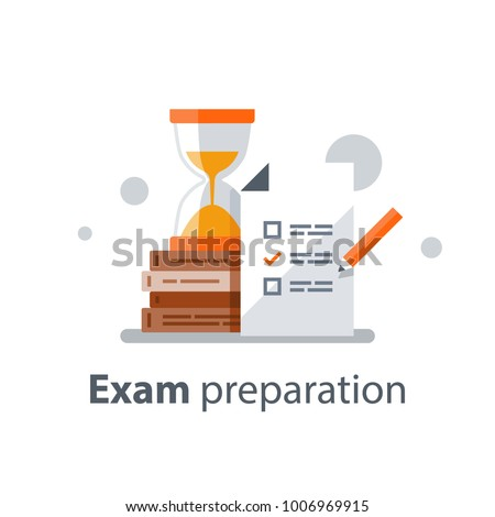 Exam preparation, school test, examination concept, checklist and hourglass, choosing answer, questionnaire form, education, vector flat illustration
