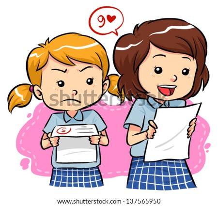 Exam results Young girls receive their exam results with different expressions Vector EPS8 file