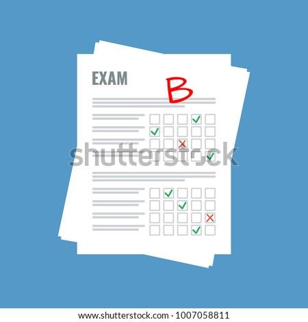 exam sheet with B grade, flat design