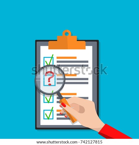 Exam test results paper sheet or checklist, filled quiz document. Vector illustration of quiz or questionnaire with answers and womans hand holding magnifier