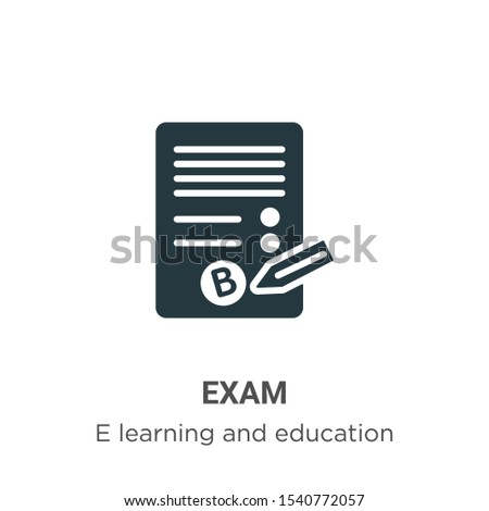 Exam vector icon on white background. Flat vector exam icon symbol sign from modern e learning and education collection for mobile concept and web apps design. Сток-фото ©