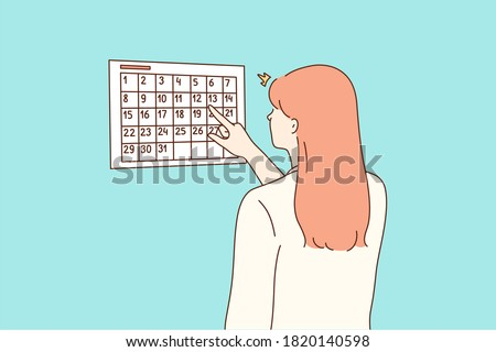 Examination, pregnancy, checkup concept. Young worried woman girl cartoon character checking looking at calendar for pregnant terms or menstruation periods. Waiting for holidays vacations illustration