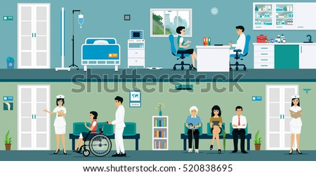 Examination rooms where doctors and patients waiting for service.