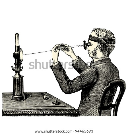 "Examination under the magnifying glass - vintage engraved illustration - ""Manuel des hospitalière et des garde-malaldes""  edited by  Librairie Poussielgue - Paris 1907"