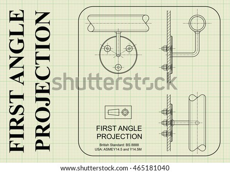 Example of first angle orthographic projection drawing on graph paper background
