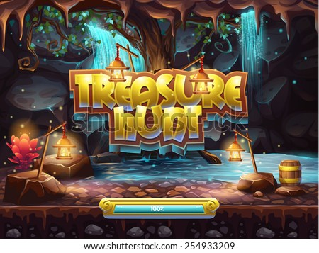 Stock Photo Example of the boot screen to play game user interface treasure hunt