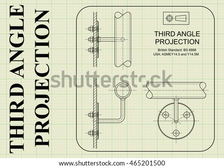 Example of third angle orthographic projection drawing on graph paper background