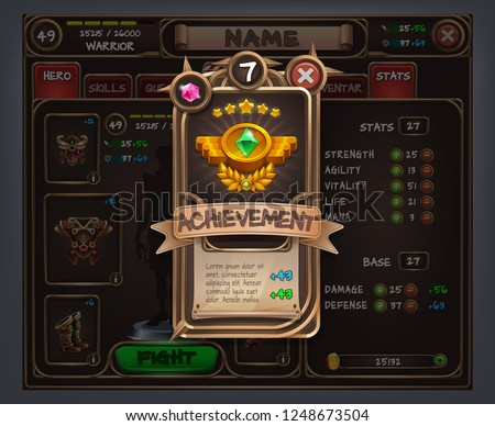 Example of user interface for rpg game. Vector illustration.