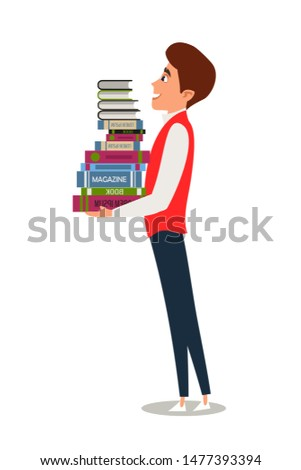 Exams preparation flat vector illustration. Smart college, university student carrying textbooks cartoon character.