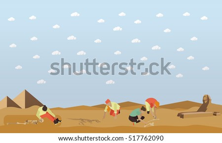 Excavation In Egypt Concept Vector Illustration Flat Style Archaeologists Tools Human And