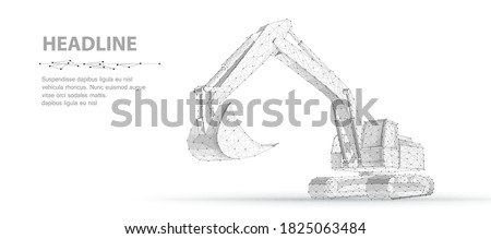 Excavator. Abstract polygonal wireframe vector 3d excavator isolated on white background. Construction, building, heavy machine, industrial machinery, mining concept illustration
