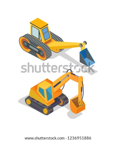 Excavator and bulldozer industrial machinery icons vector. Loader with shovel, excavation machine, backhoe device. Loader mechanical dredger mechanism