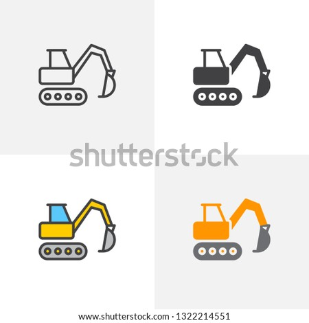 Excavator, crawler digger icon. Line, glyph and filled outline colorful version, Excavator truck outline and filled vector sign. Symbol, logo illustration. Different style icons set