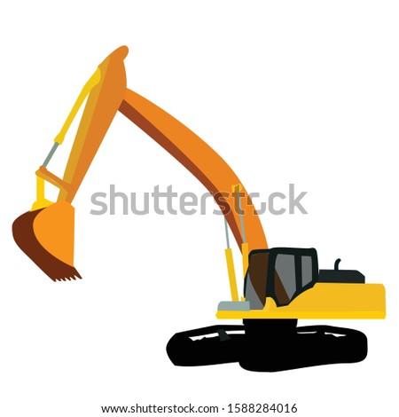 Excavator Design, Machinery Vector Illustration