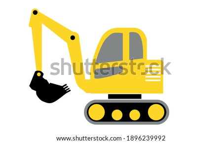Excavator Digger truck and construction theme Vector and Clip art
