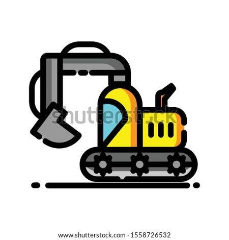 excavator heavy vehicle construction icon