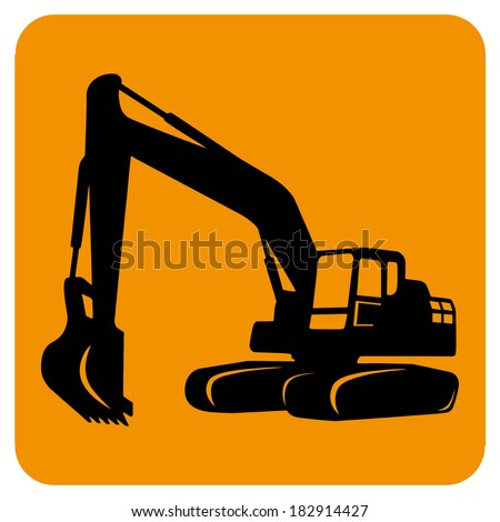 Excavator isolated Vector icon Sketch in black lines Yellow background