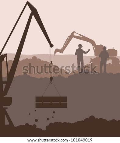 Excavator loader and crane at construction site vector background
