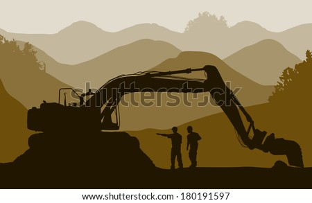 Excavator loader and workers at mine