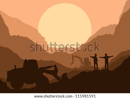 Excavator loader at construction site with bucket vector background - stock vector