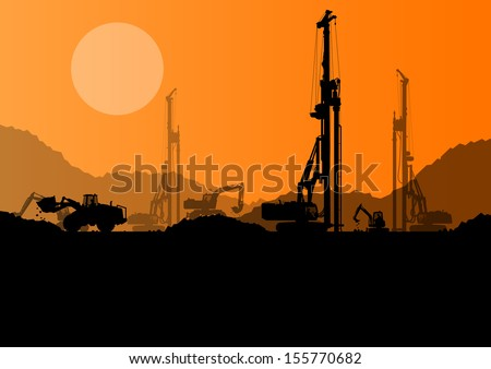 Excavator loaders hydraulic pile drilling machines tractors and workers digging at industrial construction site vector background illustration