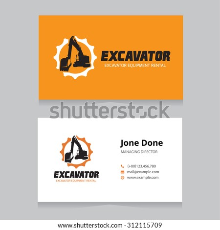 Excavator Logo and business card template.