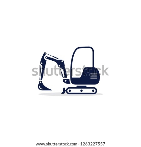 Excavator mini icon. Digger Illustration vector dig vehicle. Mini excavator flat illustration.