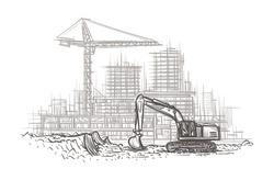 Excavator on construction site hand drawn illustration. Vector.