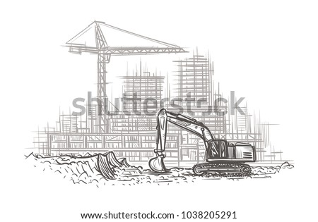 Excavator on construction site hand drawn illustration. Vector.
