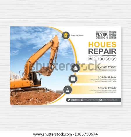 Excavator or dozer cover A4 template for construction brochure design, flyer, leaflets decoration for printing and presentation vector illustration