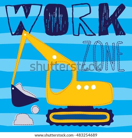 excavator truck cartoon vector