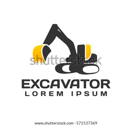 Excavator Vector Logo Template. Excavator logo. Excavator isolated. Digger, construction, backhoe, construction business icon. Construction equipment design elements.