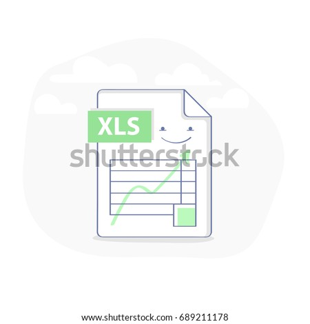 Excel file illustration icon, table with graph. Cute smiley XLS document in modern flat line style. Business template concept.