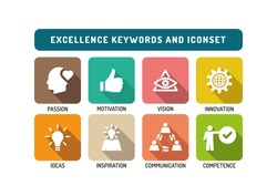 Excellence Marketing Flat Icon Set