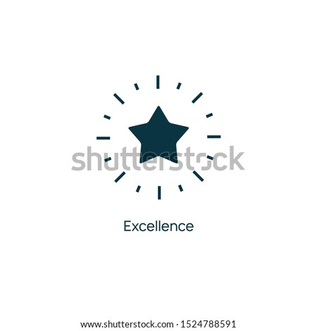 Excellence star vector premium line icon. Sertificate stamp quality star mark service. Сток-фото ©