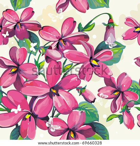 Excellent Beautiful flower seamless pattern, vector illustration texture with butterflies
