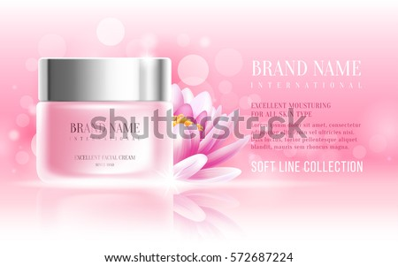 Excellent cosmetic ads, facial cream. For announcement sale or promotion new product. Pink cream bottles on soft background with glitter particles and flowers. Vector illustration.